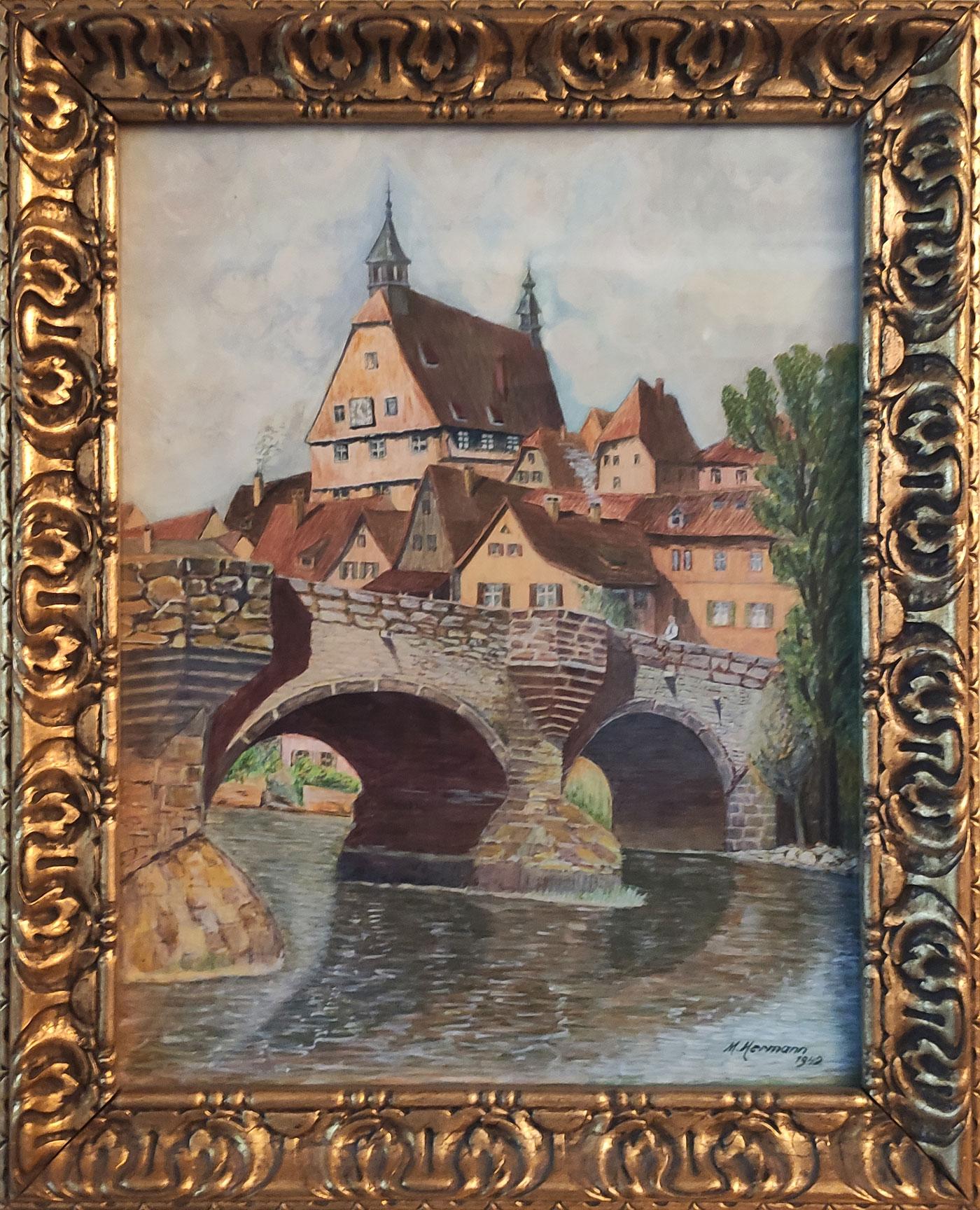 Ein Gemälde von der Stadt Besigheim